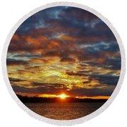Winter Sunset Over Grand Island Round Beach Towel