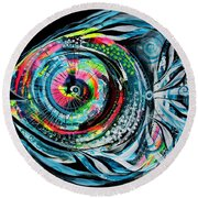 Winter Tail Just Chillin Round Beach Towel