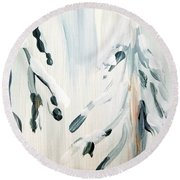 Winter Trees #3 Round Beach Towel