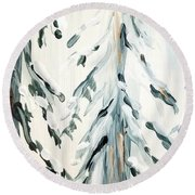 Winter Trees #4 Round Beach Towel by Maria Langgle