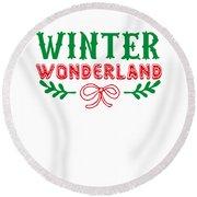 Winter Wonderland Christmas Secret Santa Snowing On Christmas Round Beach Towel