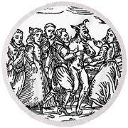 Witches Dancing With The Devil, Illustration From Compendium Maleficarum Round Beach Towel