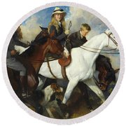 With The York And Ainsty, The Children Of Mr Edward Lycett Green Round Beach Towel