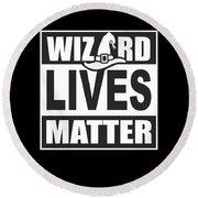 Wizard Lives Matter Retro Halloween Sorcerer Dark Round Beach Towel