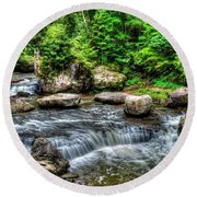 Wolf Creek Falls, New River Gorge, West Virginia Round Beach Towel