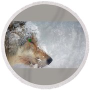 Wolf In The Snowstorm - Painting Round Beach Towel