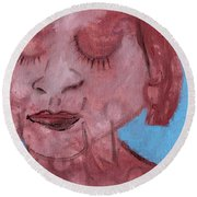 Woman And Blue Background Round Beach Towel