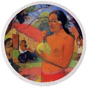 Woman Holding A Fruit 1893 Round Beach Towel