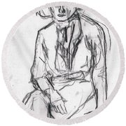 Woman In A Hat Drawing Round Beach Towel