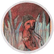 Woman In Reeds Round Beach Towel