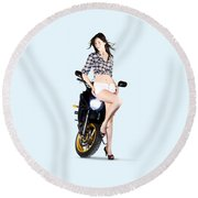 Woman Leaning On A Motorbike Round Beach Towel