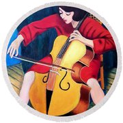 Woman Playing Cello - Bereny Robert Study Round Beach Towel