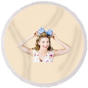 Woman Playing With Hair Tie. Retro Accessories Round Beach Towel