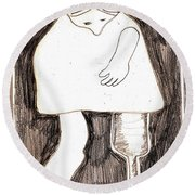 Woman With A Wooden Leg Drawing Round Beach Towel