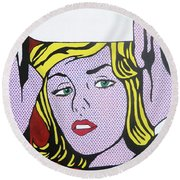 Woman With Man Round Beach Towel