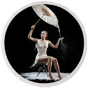 Woman With Milk Dress Round Beach Towel