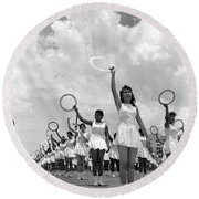Women And Rings Round Beach Towel