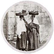 Women From Siloan In Jerusalem Round Beach Towel