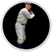 Wood Carving - Babe Ruth 001 Round Beach Towel