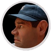 Wood Carving - Babe Ruth 002 Profile Round Beach Towel