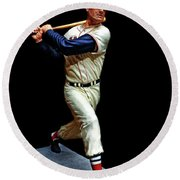 Wood Carving - Ted Williams 001 Black Background Round Beach Towel