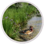 Wood Duck And Iris Round Beach Towel by Patti Deters
