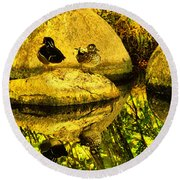 Wood Duck Pair And Their Reflection Round Beach Towel