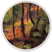 Wooded Path 1884 Round Beach Towel
