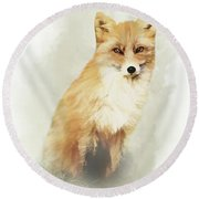 Woodland Fox Portrait Round Beach Towel