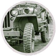 World War II Era Us Army Jeep Round Beach Towel