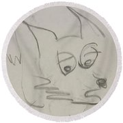 Worried Fox Sketch Round Beach Towel
