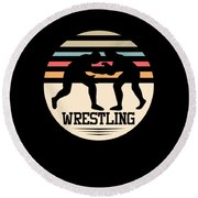 Wrestling Art Round Beach Towel