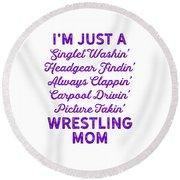 Wrestling Singlet Washin Mom Purple Gift Dark Round Beach Towel