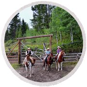 Wyoming Cowgirl Trio Round Beach Towel