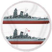 Yamato Class Battleships Port Side Round Beach Towel