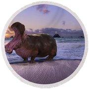 Yawning Coastal Hippo Hello Round Beach Towel