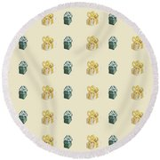Yellow And Green Present Pattern Round Beach Towel