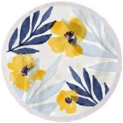 Yellow And Navy 1- Floral Art By Linda Woods Round Beach Towel
