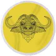 Yellow Buffalo Round Beach Towel