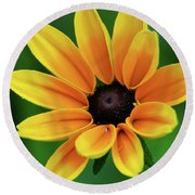 Yellow Flower Black Eyed Susan Round Beach Towel