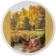 Yellow Forest Round Beach Towel