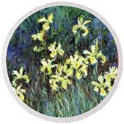 Yellow Irises - Digital Remastered Edition Round Beach Towel