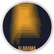 Yellow Map Of Alabama Round Beach Towel