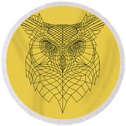 Yellow Owl Round Beach Towel