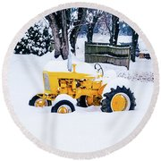 Yellow Tractor In The Snow Round Beach Towel