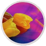 Yellow Tulips 2 Round Beach Towel