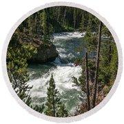 Yellowstone Rapids Round Beach Towel