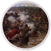Yermak's Conquest Of Siberia, 1895 Round Beach Towel by Vasily Surikov