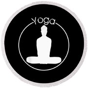 Yoga Image Of Silhouette Of Woman Sitting In Lotus Position Or Padmasana Round Beach Towel