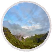 Yosemite On A Good Day Round Beach Towel